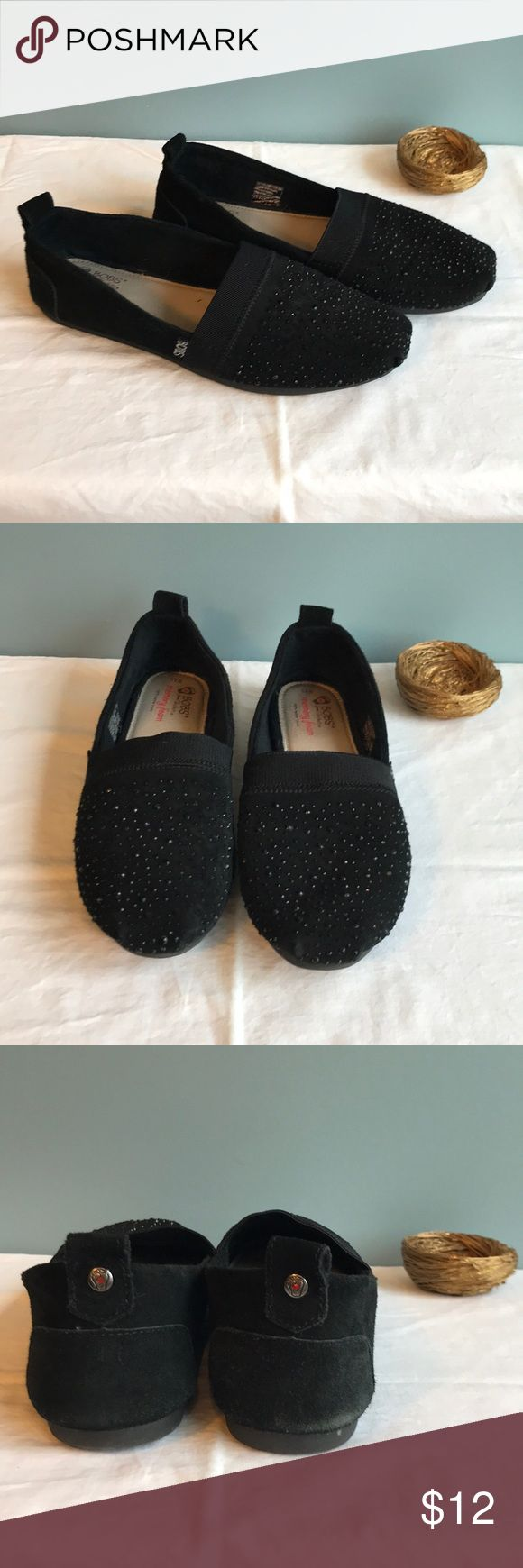 ✅NEW ITEM✅ Black Suede and Rhinestone BOBS (9.5W) BOBS by Skechers. Black suede and rhinestones. Memory foam. 100% leather insole. Size 9.5W. Pre-owned. Some wear on the suede on the heel; please see pictures and ask questions BEFORE buying. BOBS by Skechers Shoes Flats & Loafers
