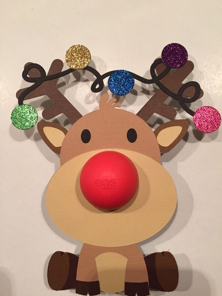 Reindeer eos lip balm holder ❤️ Made using the Cricut Explore with a subscription to Cricut Design Space. Coredinations solid core cardstock used for matte colors.