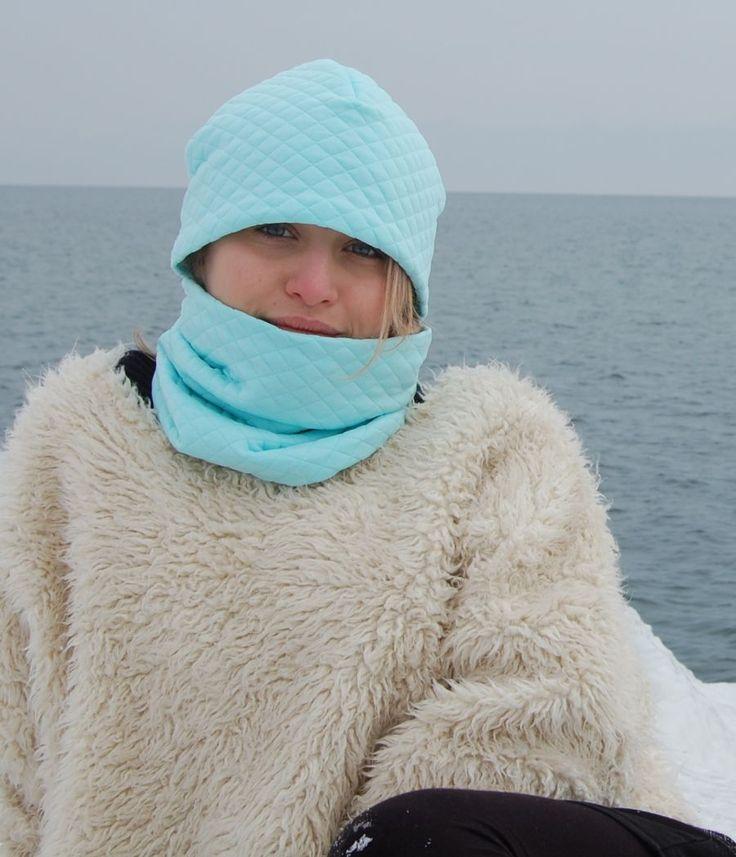 Alpine Quilt Skull Cap and Neck Warmer are perfect winter beachwear  #activewear #madeincanada