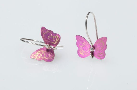 Titanium Earrings Dangle Earrings  Butterfly by Giampouras on Etsy #titanium #pink #butterflies