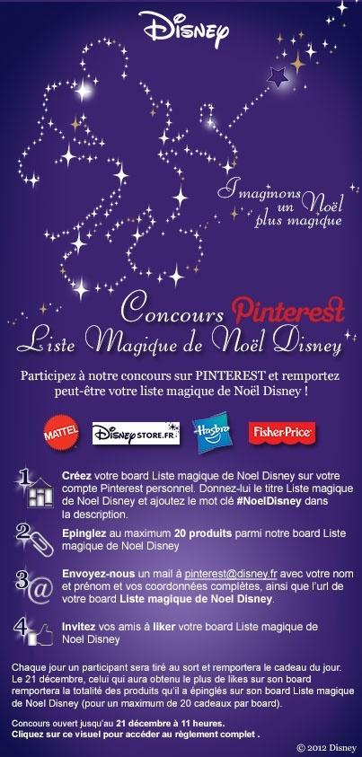 Het is een wedstrijd van Disney die een Pinterestactie organiseert in de kerstsfeer. Je moet een board maken en daar 20 producten op plaatsen die je kan winnnen. Je moet zoveel mogelijk likes hebben dus je moet je vrienden uitnodigen en dat is slim gezien van Disney, zo lok je meer mensen naar je site.  (http://pinterest.com/disneyfrance/activity)