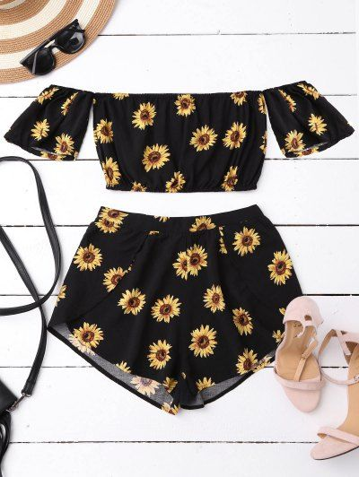 SHARE & Get it FREE | Off Shoulder Crop Top And Sunflower Shorts - BlackFor Fashion Lovers only:80,000+ Items • New Arrivals Daily Join Zaful: Get YOUR $50 NOW!