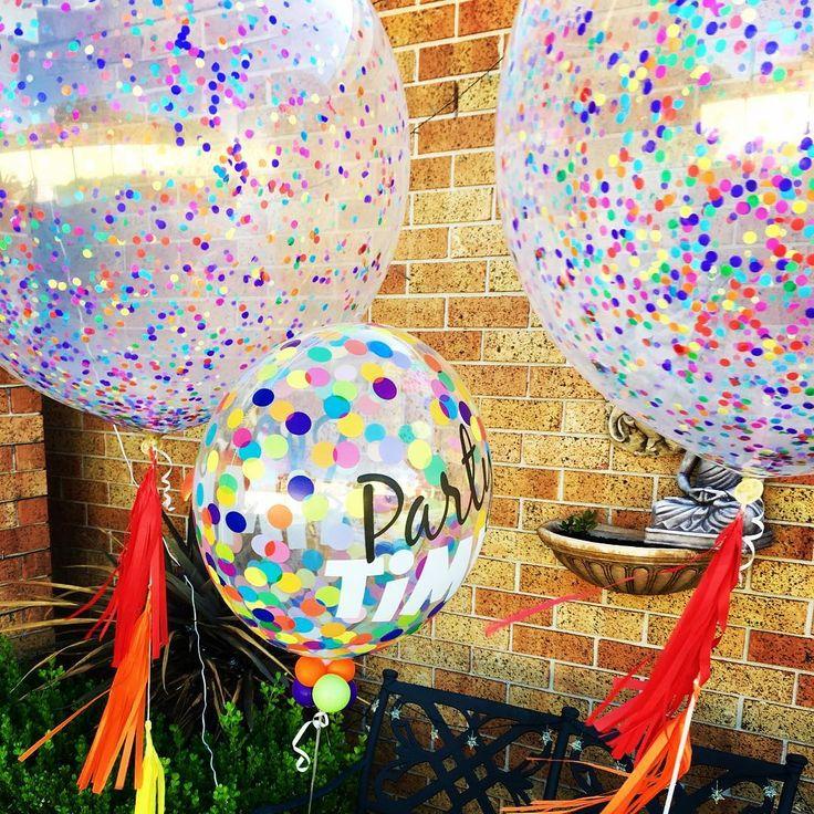Rainbow confetti balloons #sydneyballoons #quirkyballoons #kidspartyideas #rainbow