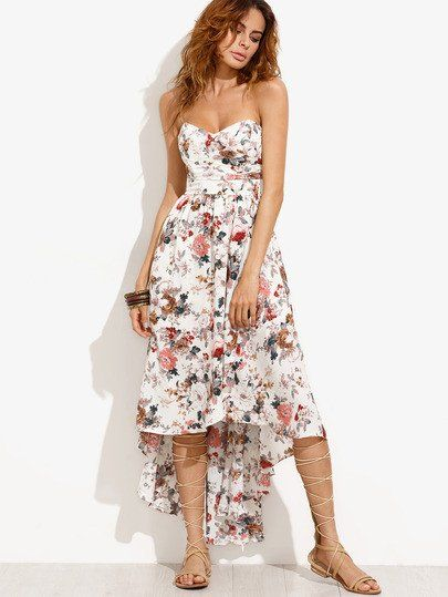 White Floral Print High Low Strapless Dress