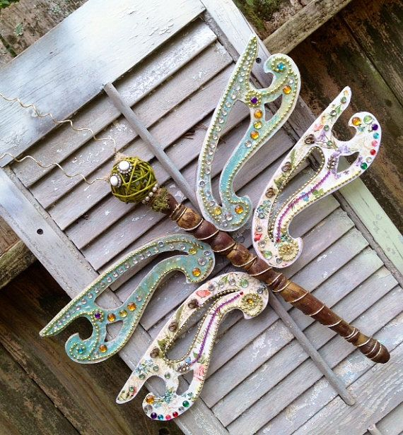 Dragonfly Made With Repurposed Items Vintage by YakiArtist, $55.00