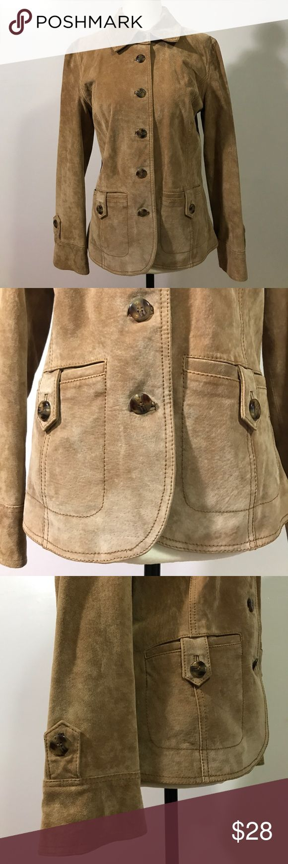 "I.E. Camel Leather Jacket- PM Gorgeous suede jacket in amazing condition! Nice neutral camel color.  Armpit to armpit- 18"". Length- 24"".💖💕 I.E Jackets & Coats Blazers"