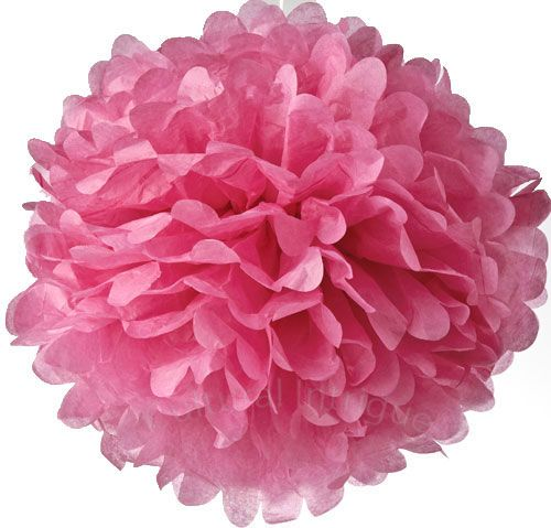 "Tissue Paper Pom Pom in Fuchsia Pink - 15"""