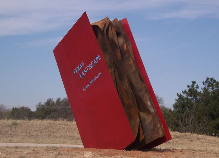 """Texas Landscape"" by Eric McGehearty made of steel & auto paint -- Texas Landscape Sculpture - This piece is on long term loan to the Art Assembly of Midland and Located at Windland's Park 1000 W. Dengar Ave., Midland, Texas"