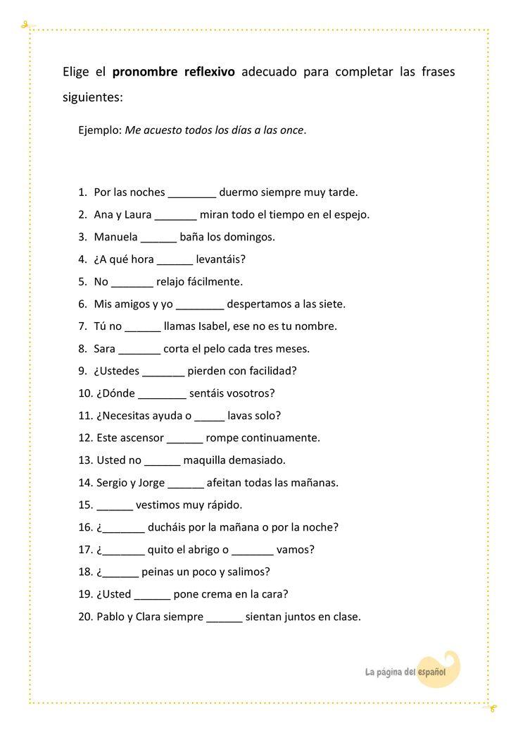 Una actividad para revisar los pronombres y verbos reflexivos.