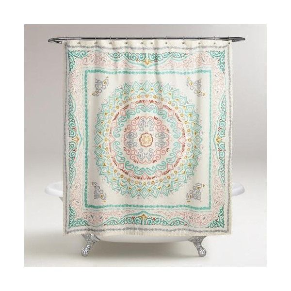 Cost Plus World Market Arabella Medallion Shower Curtain ($24) ❤ liked on Polyvore featuring home, bed & bath, bath, shower curtains, multi and cost plus world market