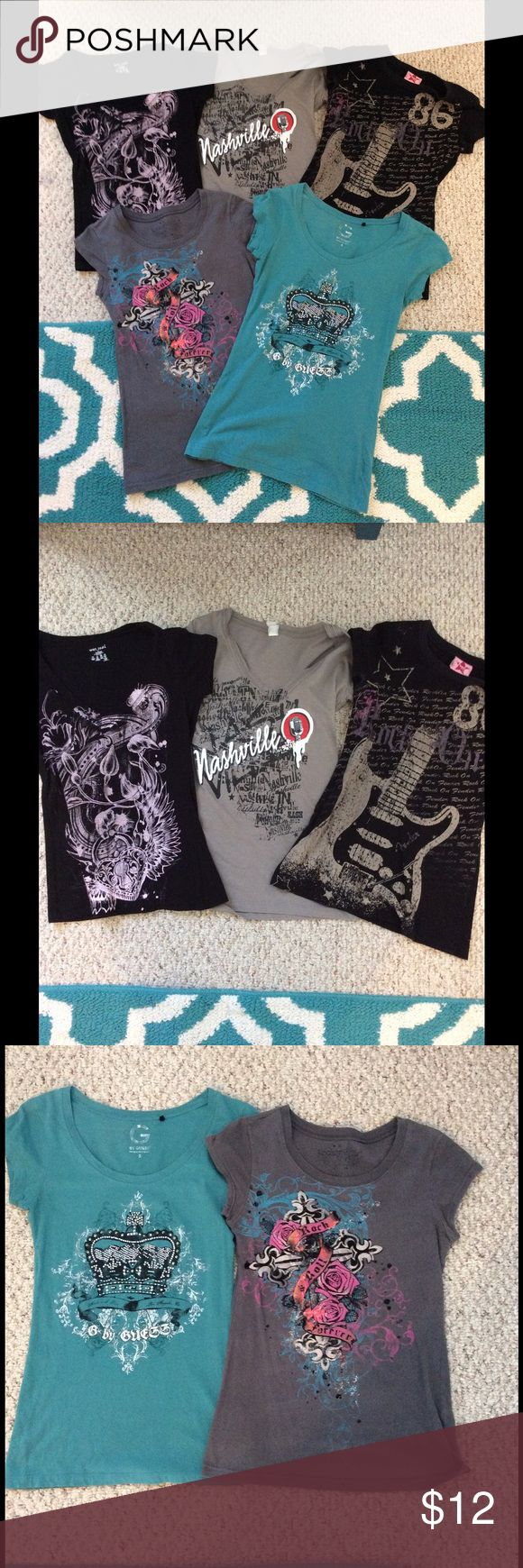 Lot of 5 XS Cotton T Shirts 5 XS tee shirts - tags says small but they have been worn and shrunk a little from drying. one is a guess t shirt, one is wet seal, one rock n roll. All in fair to good condition. Tops Tees - Short Sleeve