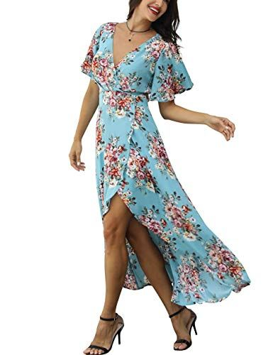 da6413309411 Azalosie Wrap Maxi Dress Short Sleeve V Neck Floral Flowy Front Slit High  Low Women Beach Summer Boho Dress at Amazon Women's Clothing store: