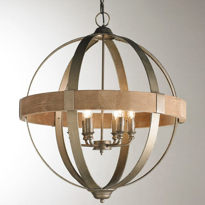 Check out Metal and Wood Globe Chandelier - 6-Light from Shades of Light