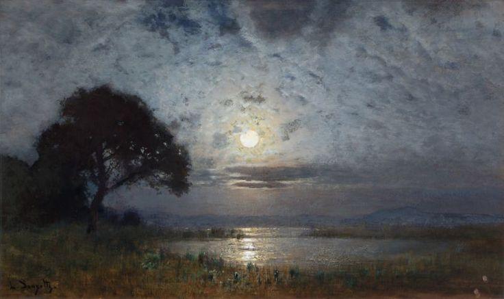 ✨ Louis Douzette - Mondscheinlandschaft auf dem Darß,  wohl ca.1900. Gouache und Tempera auf Papier, signiert, 33,3 x 57,1 cm