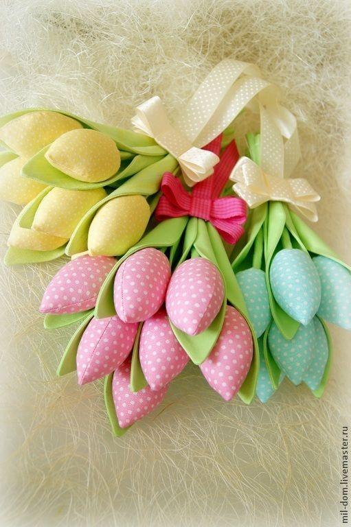 Купить Букеты из тюльпанов - разноцветный, тюльпаны, тюльпан, тюльпаны из ткани, цветы, букет, букет тюльпанов: