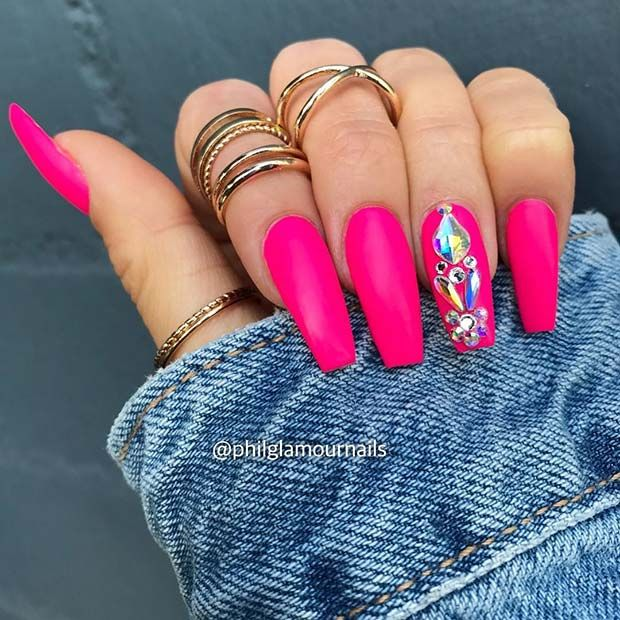 41 Elegant Nail Designs With Rhinestones Stayglam Nails Design With Rhinestones Simple Acrylic Nails Pink Acrylic Nails