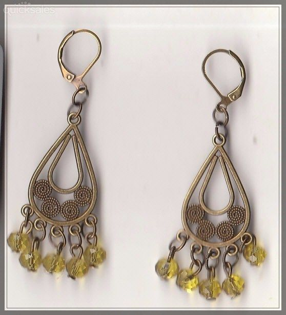 Yellow Crystal Bead Bronze Chandelier Earrings  by MadAboutIncense - $10.50