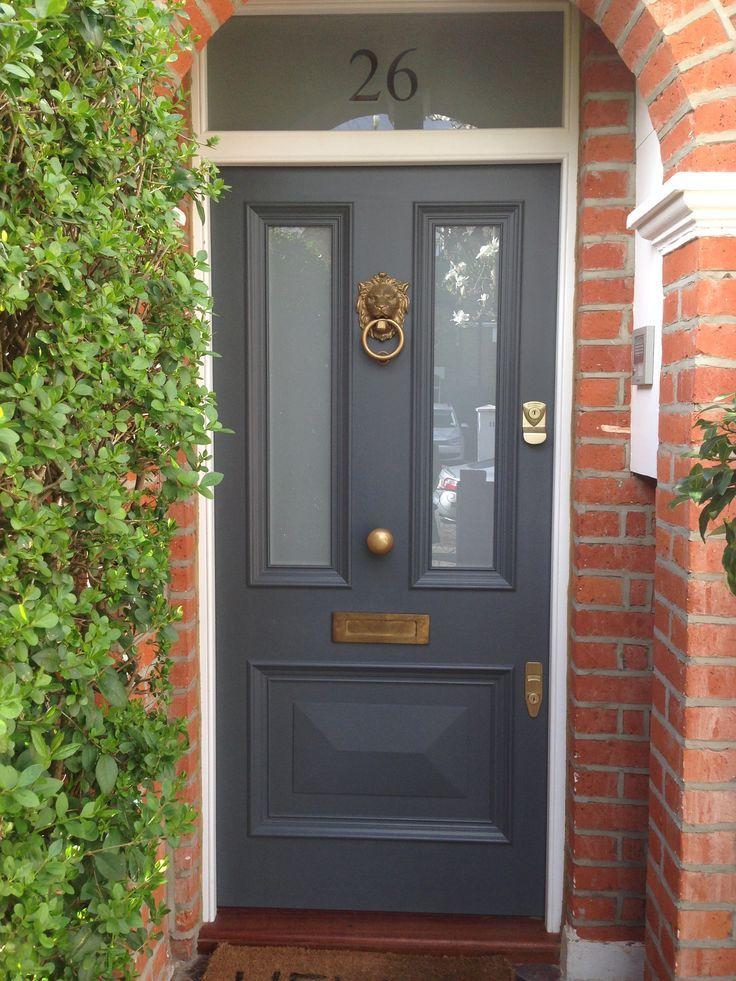 Victorian front door in Farrow & Ball's Downpipe