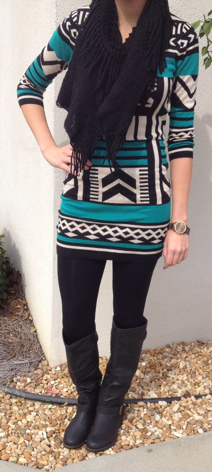 Tribal Print Sweater Dress, Black Leggings, Boots, Black Scarf