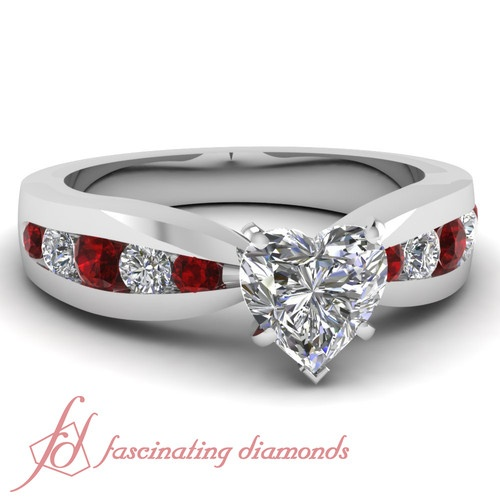 Elegantly Opulent Engagement Ring 1 Ct Heart Shaped Diamond Ruby Channel Set in White Gold