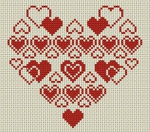 Heart Full of Hearts cross stitch