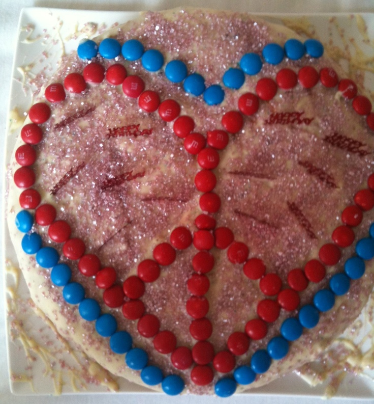 peace heart birthday cake