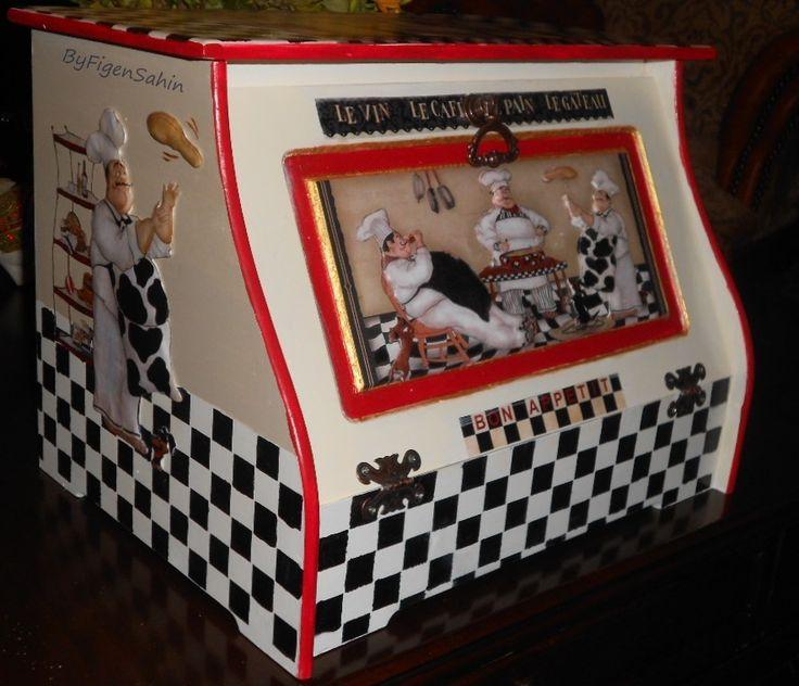 Wooden hand-paint kitchen, bread box- storage box, Ahşap boyama ekmek kutusu