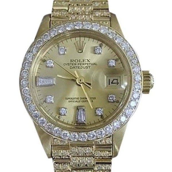 Pre-owned Rolex Datejust 6917 18K Yellow Gold Diamond Dial, Bezel &... ($13,999) ❤ liked on Polyvore featuring jewelry, watches, diamond dial watches, diamond watches, gold watches, preowned watches and 18k gold watches