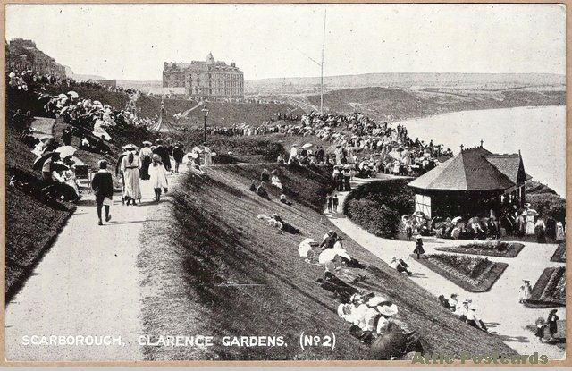 Vintage postcard of Clarence Gardens in Scarborough, Yorkshire, England. Shows many people. Queen Series.