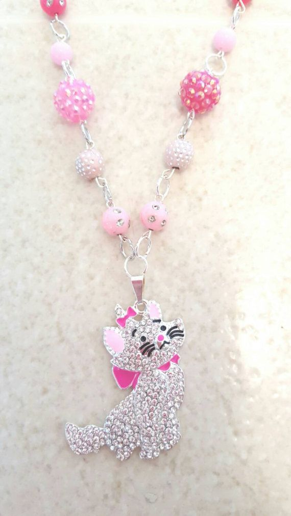 Hey, I found this really awesome Etsy listing at https://www.etsy.com/listing/251742878/pink-rhinestone-kitty-charm-necklace