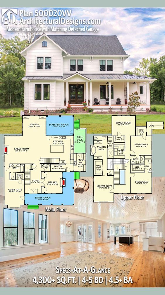 Sign me up. Architectural Designs Modern Farmhouse Plan 500020VV has an L-shaped front with an a private entry to a guest suite, perfect for an in-law or nanny suite. The home gives you 4,300+ square feet of heated living space and 4 bedrooms. Ready when you are. Where do YOU want to build? #500020VV (Make library into bedroom, add tub to half bath and eliminate dining room. Good one floor plan.)