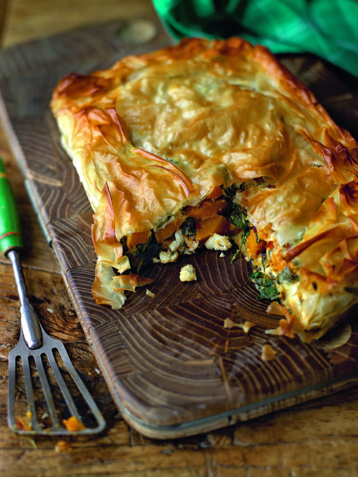 Squash and spinach pie. This is a fabulous vegetarian dish and would also work well made as individual parcels as a starter (see tip).