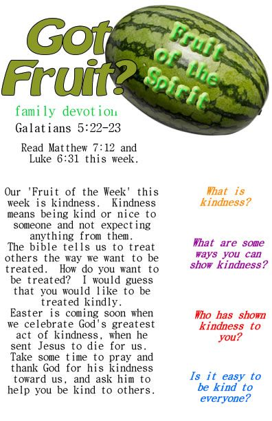Fruit of the Spirit printable devotion guide for sunday school or family time