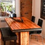 Table made out of wall studs found on demolition, second life at his best