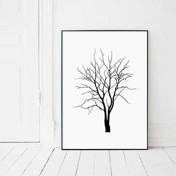Tree Print Tree Poster Modern Minimalist Black by AngelinasArtShop