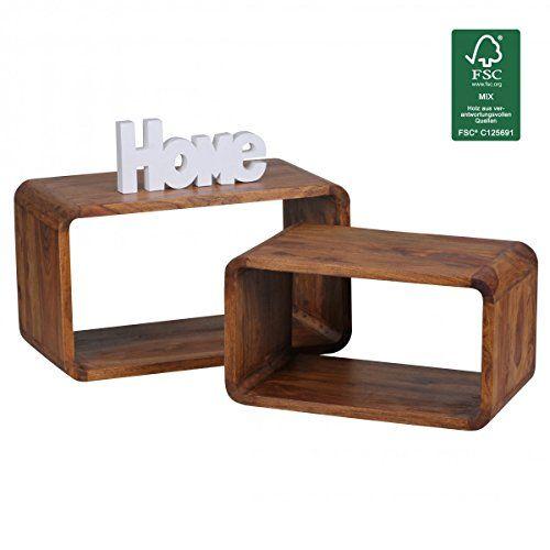 FineBuy 2er Set Satztisch Massiv-Holz Sheesham Wohnzimmer-Tisch Landhaus-Stil Cubes Beistelltisch Würfel-Regal Natur-Holz Würfeltisch Modern Naturprodukt dunkel-braun Echt-Holz Couchtisch Unikat