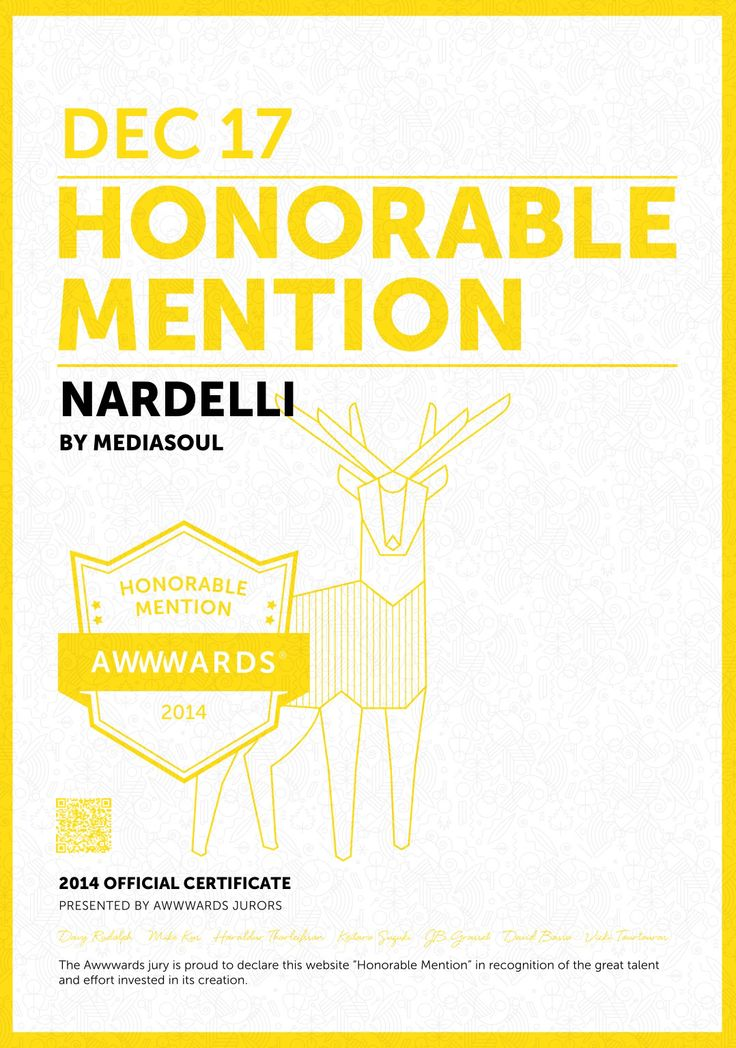 Honorable Mention on AWWWARDS!