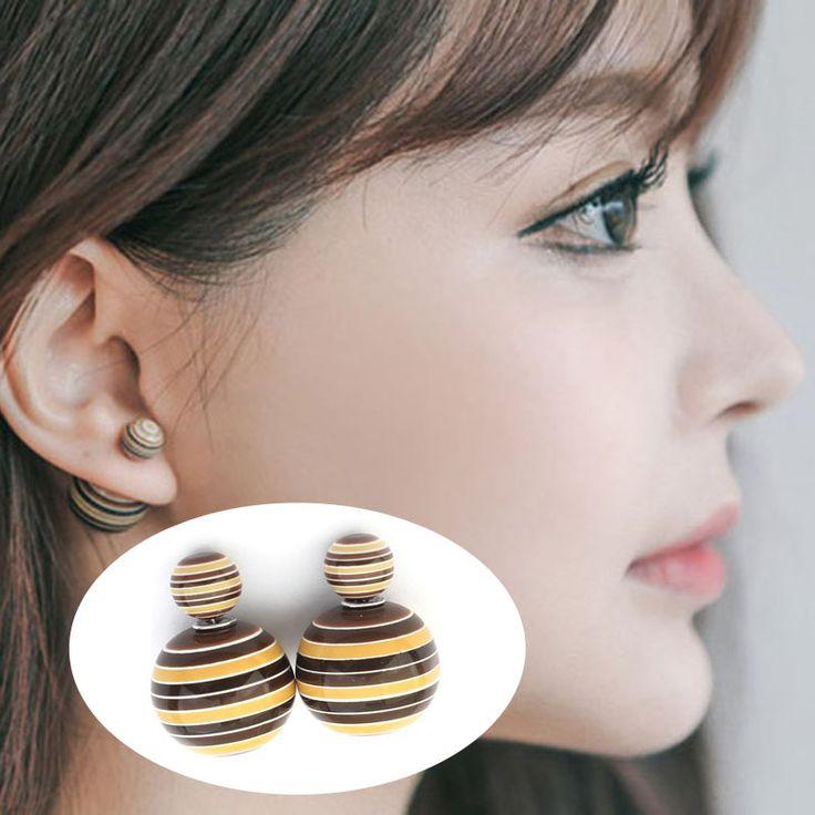 Hot Sale Korea Permen Shambhala Dua Kali Lipat Sisi Piercings Earings Fashion Cubes Bola Stud Earrings Untuk Wanita Perhiasan Perhiasan