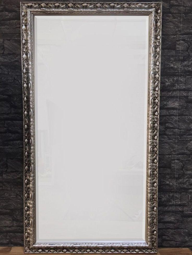 Großer Wandspiegel Spiegel Holzrahmen in silber Barock Landhausstil ...