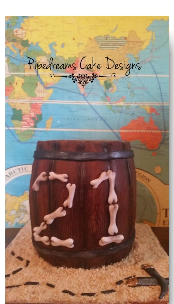 A timber barrel cake for a pirate themed 21st birthday party.