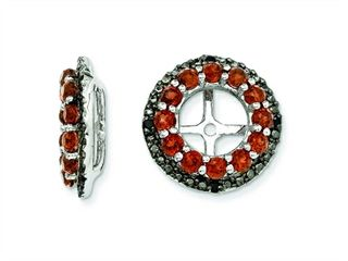 Sterling Silver Garnet and Black Sapphire Earring Jackets