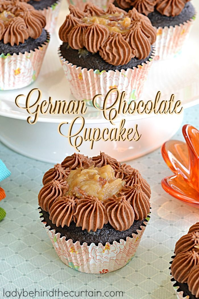 German Chocolate Cupcakes | A deep chocolate cupcake filled with the delicious coconut frosting that we all love along with a creamy butter chocolate frosting.