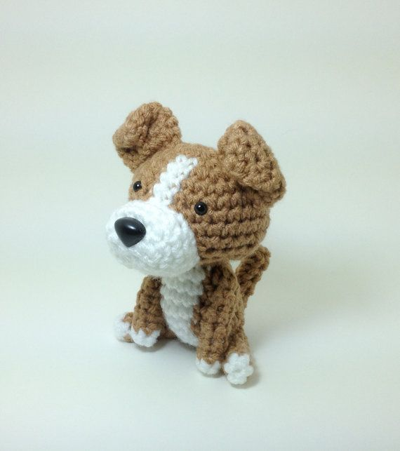 Plush Toy Pit Bull American Stafford Terrier Amigurumi Dog Handmade Crochet Puppy Stuffed Animal Doll / Made to Order on Etsy, $25.00
