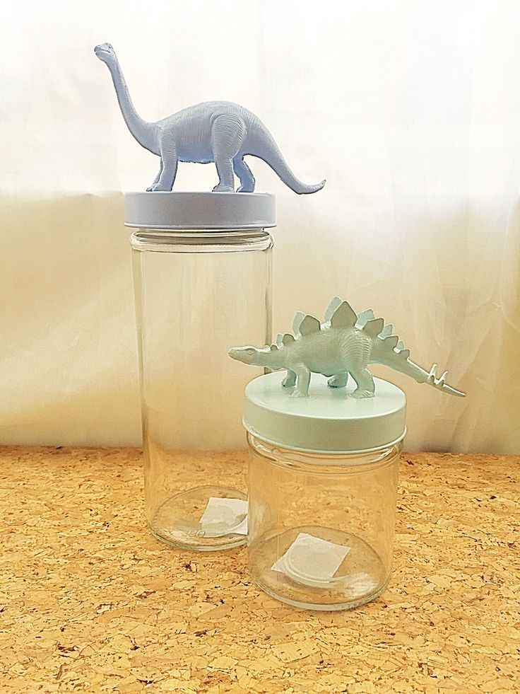 Homemade jars with animal toy for kidsroom.