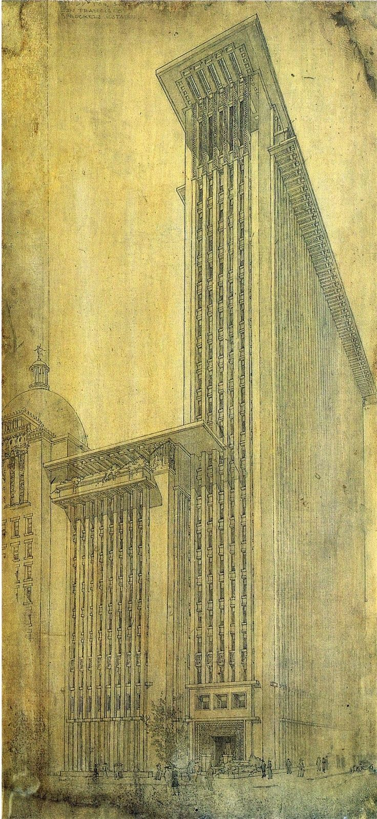 Frank Lloyd Wright design for an office tower for the 'San Francisco Call' press, 1912: