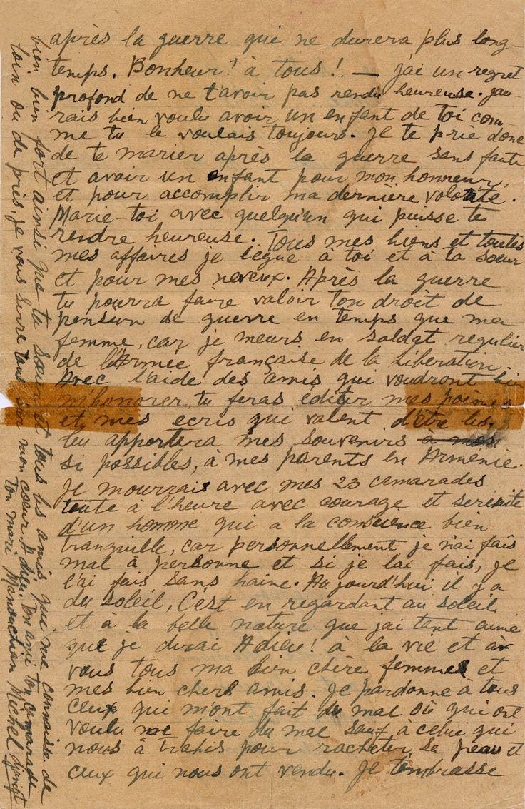 Lettre deManouchianMissak– Lettres de fusillés – Le Mont Valerien, haut lieu de la mémoire nationale