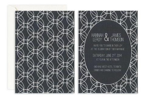 Monochromatic Halos Invite – Jo's Paperie #wedding #invitations #geometric #template