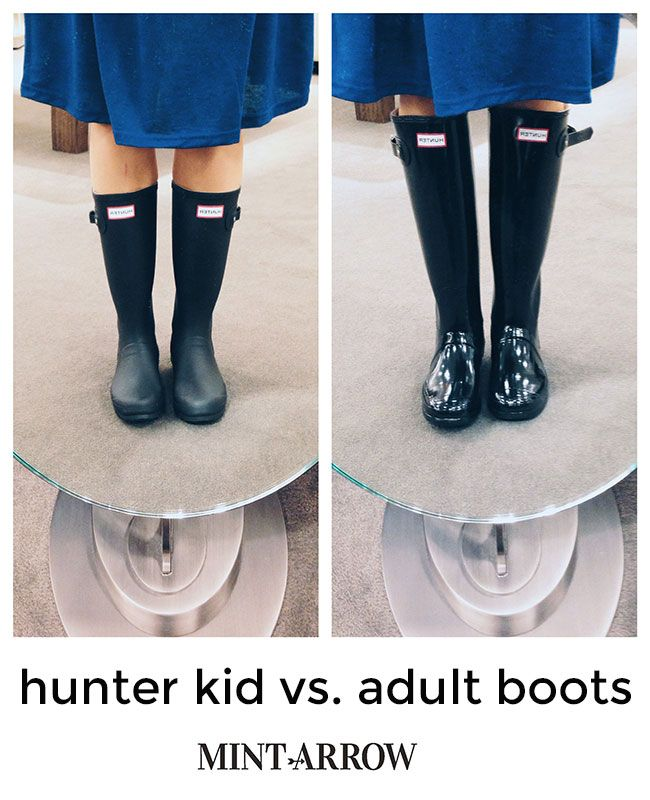 side-by-side comparison of hunter kid vs adult boots (the trick to getting hunter boots cheap!)