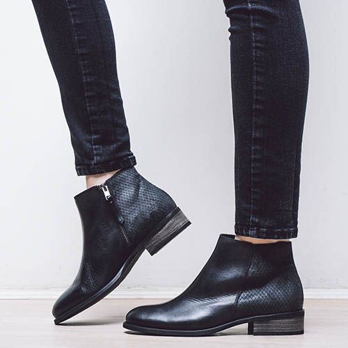 EVANINA - Flat, black ankle boot with contrasting smooth leather and snake embossed suede http://sevenbootlane.com/collections/boots/products/evanina-black-leather