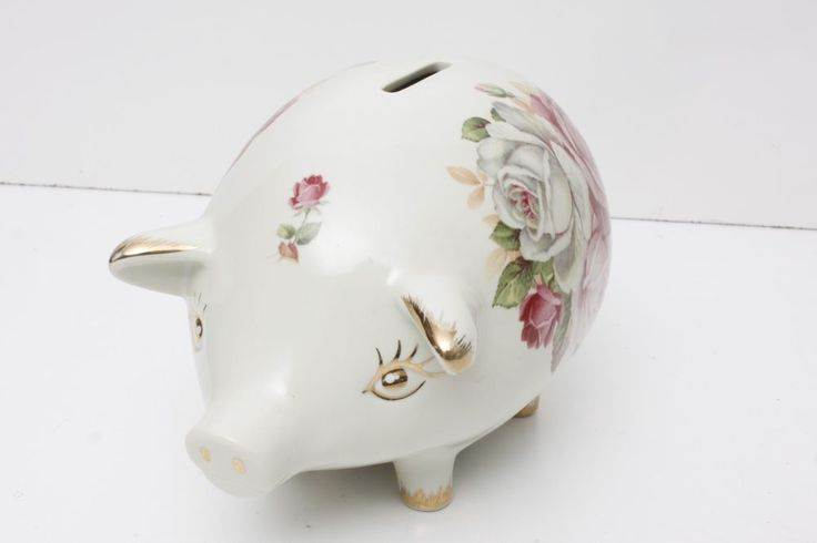 Vintage Adorable Victorian Roses Piggy Bank